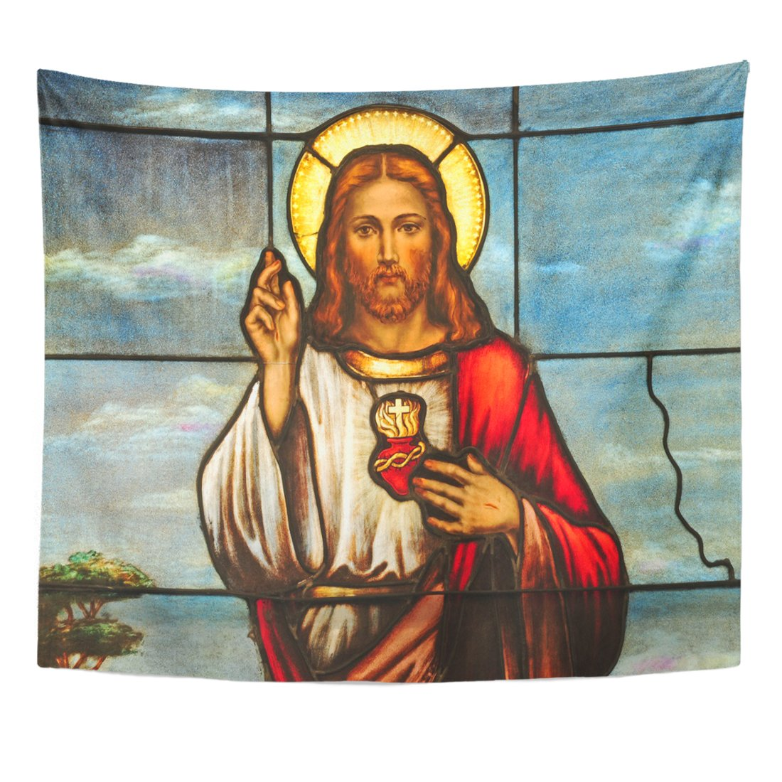 VaryHome Tapestry Christ Stained Glass Window Depicting Sacred Heart of Jesus Christian Messiah Home Decor Wall Hanging for Living Room Bedroom Dorm 50x60 Inches by VaryHome