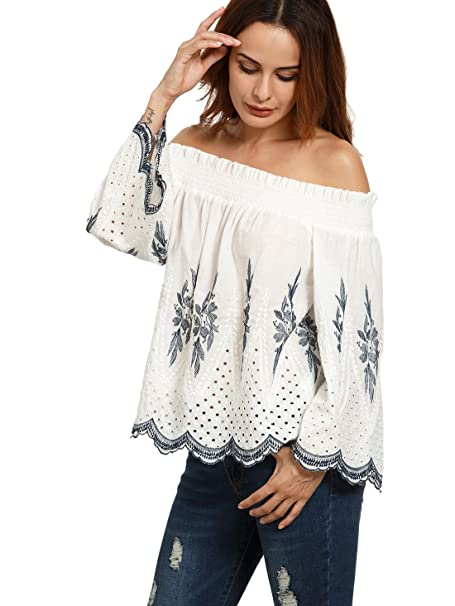f83af863e14c8f Floerns Women s Long Sleeve Off Shoulder Floral Embroidered Swing Blouse Top  White M at Amazon Women s Clothing store