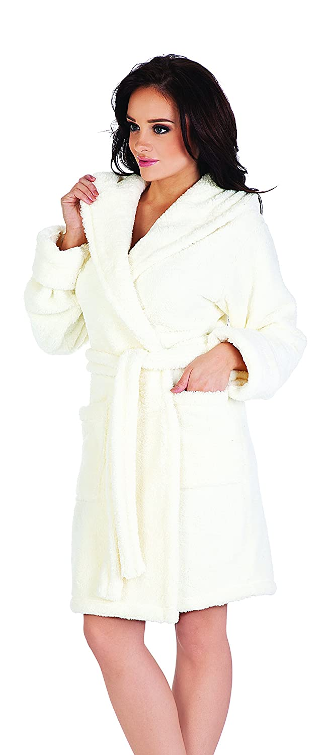 Womens Hooded Robe Dressing Gown Housecoat Bathrobe Luna ll/806