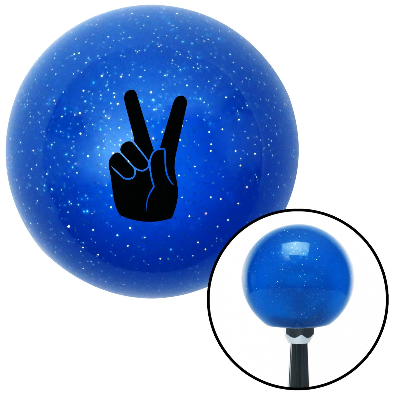American Shifter 23668 Blue Metal Flake Shift Knob Black Hand Making Peace Sign