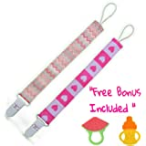Set of 2 Cute Girls Pacifier Clips with Plastic Clip for Baby Safety, Elegant Eye Catching Designs, with Free Bonus Included, Great Baby Shower Gift by Arimy Baby