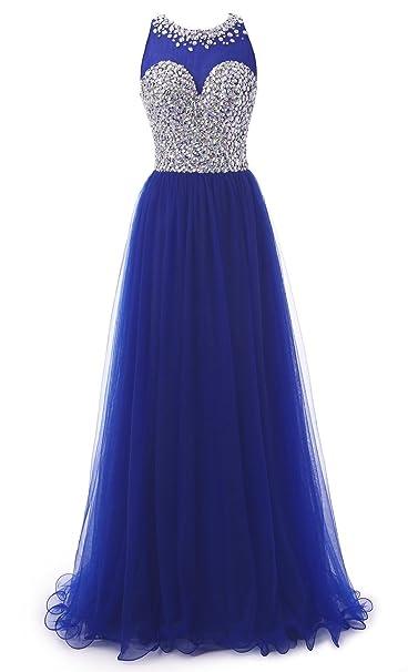 Callmelady Tul Cuello Alto Rosario Vestidos de Fiesta Largos para Mujer (Azul Real, EU30