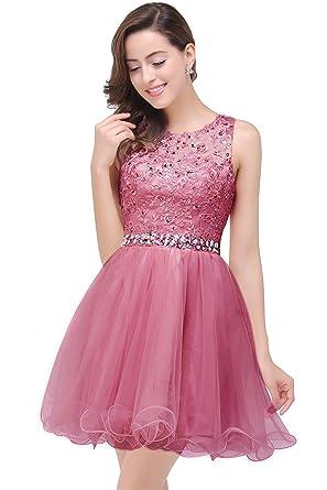 MisShow Damen Prinzessin A-Linie Spitzenkleid Abendkleid Ballkleid ...