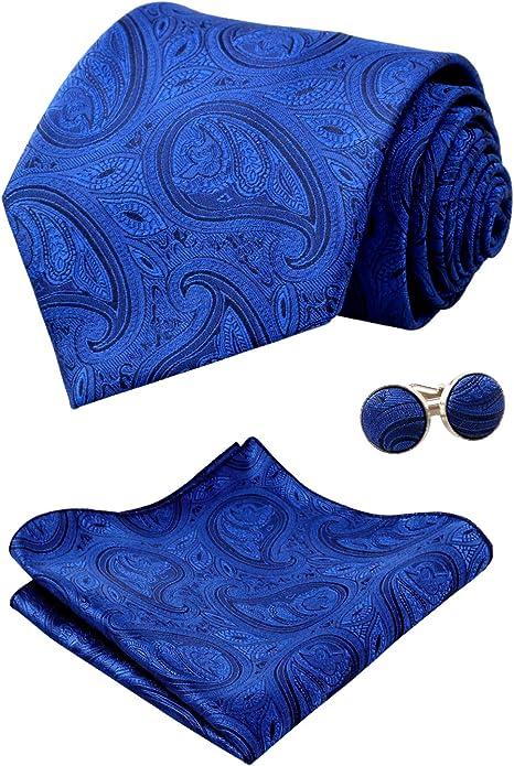 Alizeal Liso Paisley-Corbata, Pañuelo y Gemelos para Hombre, Azul ...