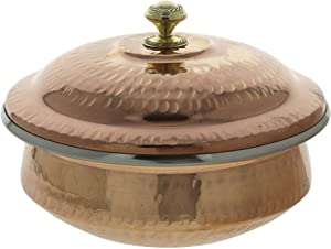 Donga Indian Serveware Soup Tureen - 1 Large Bowls with Lids - Indian Handicrafts - Copper Kitchenware