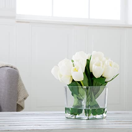 13c8f84e6416 Amazon.com: Pure Garden Tulip Floral Arrangement with Glass Vase - Cream:  Home & Kitchen
