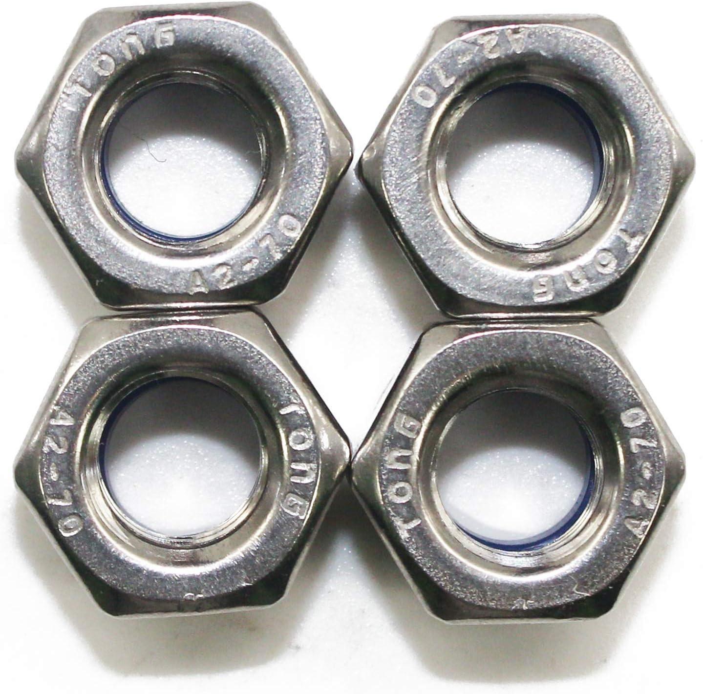 Fullerkreg M5 x 0.8mm DIN985 Self-Locking Nylon Insert Hex Lock Nuts,Stainless Steel A2-70//304//18-8,Plain Finish,Quantity 100PCS