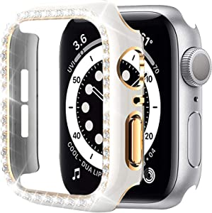 Miimall Compatible with Apple Watch 42mm Bling Case Cover Series 3 2 1, Diamond Rhinestone Bling Crystals Protective Hard PC Plated Bumper Case Cover for Apple Watch 42mm Woman(White/Gold)