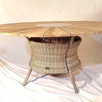 Mesa de jardín Hartman trenzado mesa de teca pl Provence nuevo ...
