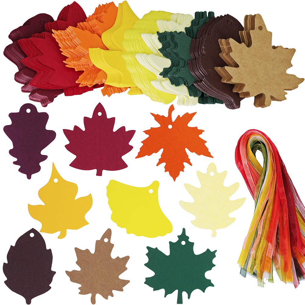 Supla 180 PCS 9 Styles Maple Leaf Die Cuts Leaf Cut Outs with Holes Hang Tags with Strings Attached Favor Tags Gift Tags Treats Tags with Ribbons for Fall Wedding Halloween Party Wishing Tree