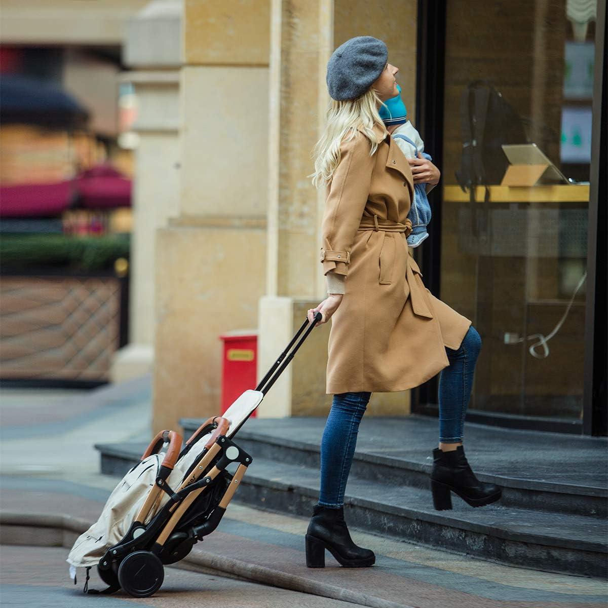 SONARIN Silla de paseo ligera y compacta,cochecito de port/átil,plegable con una mano,arn/és de cinco puntos,ideal para Avi/ón Azul