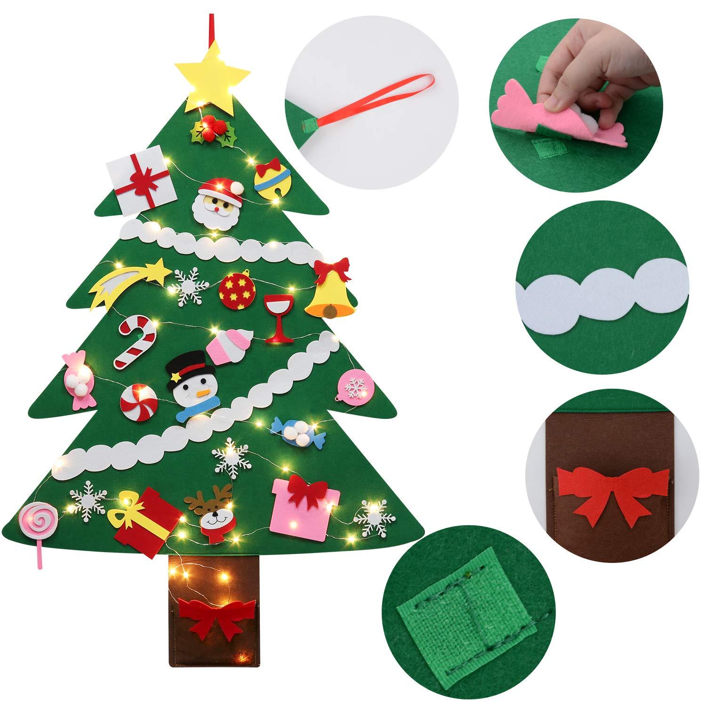 Fascigirl Filz Weihnachtsbaum DIY 39 inch Weihnachtsbaum Kinder Felt Christmas Tree Deko Weihnachten Geschenk mit Lichterkette und 28 Pcs Weihnachtsbaum Ornaments P/ädagogisches Spielzeug