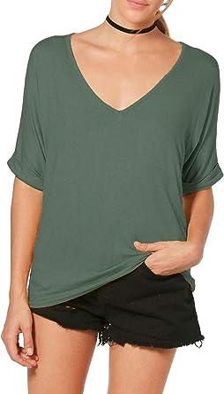 Re Tech UK - Camiseta Ancha para Mujer - Cuello de Pico - Estilo Informal y Holgado - Tallas UK 8-26/EU 36-54: Amazon.es: Ropa y accesorios