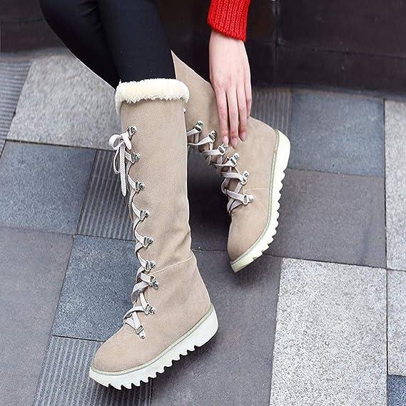Botas Martin para Mujer ZARLLE Retro Otoño Invierno Mujer Genuina Piel De Oveja Australiana Cuff Invierno Nieve Impermeable Zapatos Long Botas cuero para ...