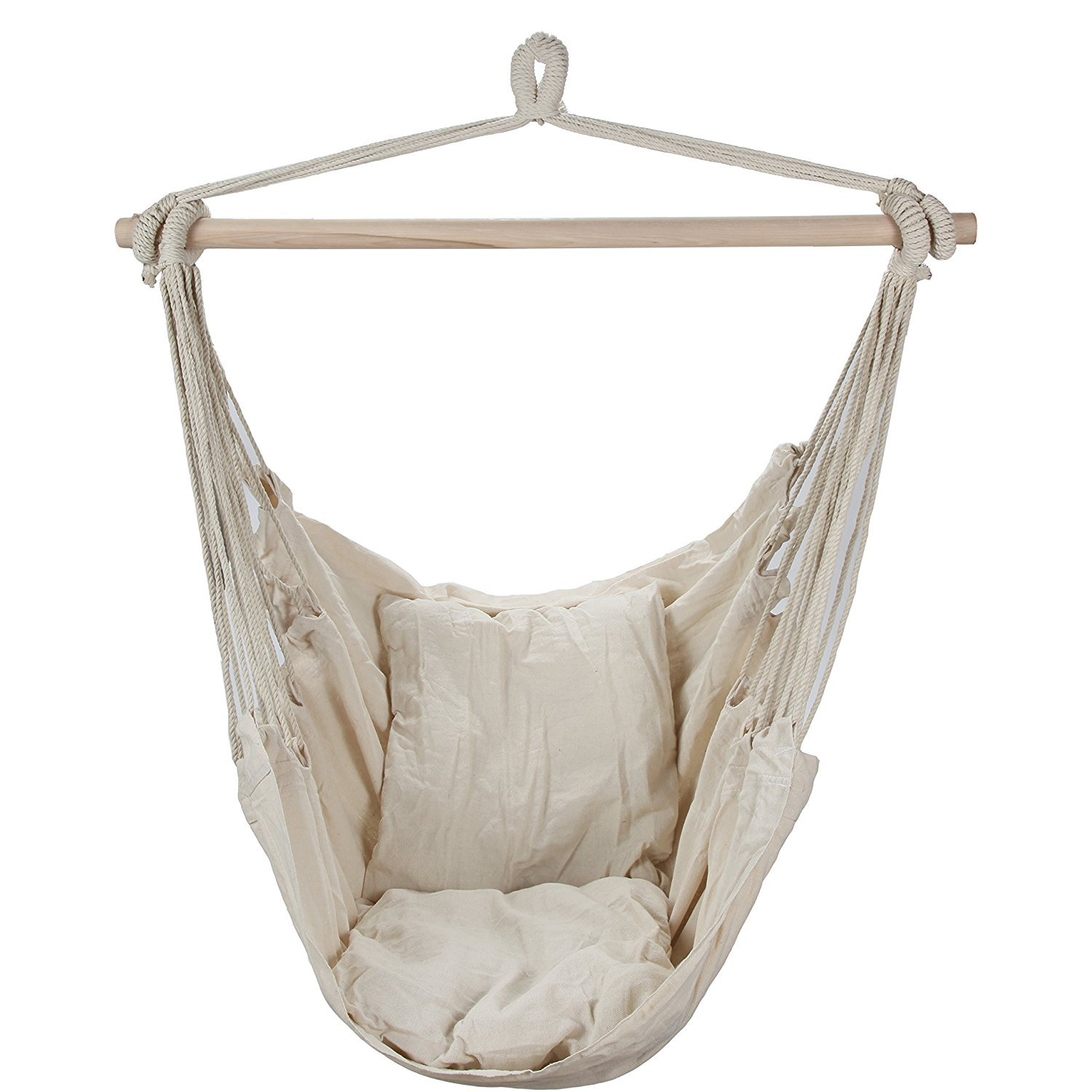 Swing Hanging Hammock Chair With Two Cushions (White) [並行輸入品] B0784H4G6D