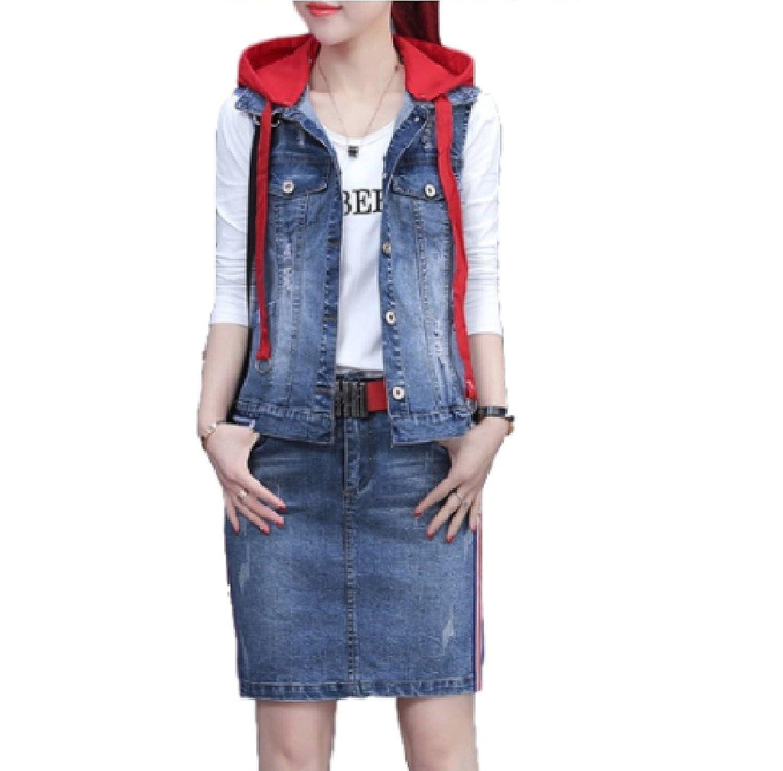 [Nana_Collection(ナナコレクション)] 春 秋 女性 デニム フード付 ベスト Tシャツ スカート 3点セット B07BGXGVNV XL|レッド レッド XL