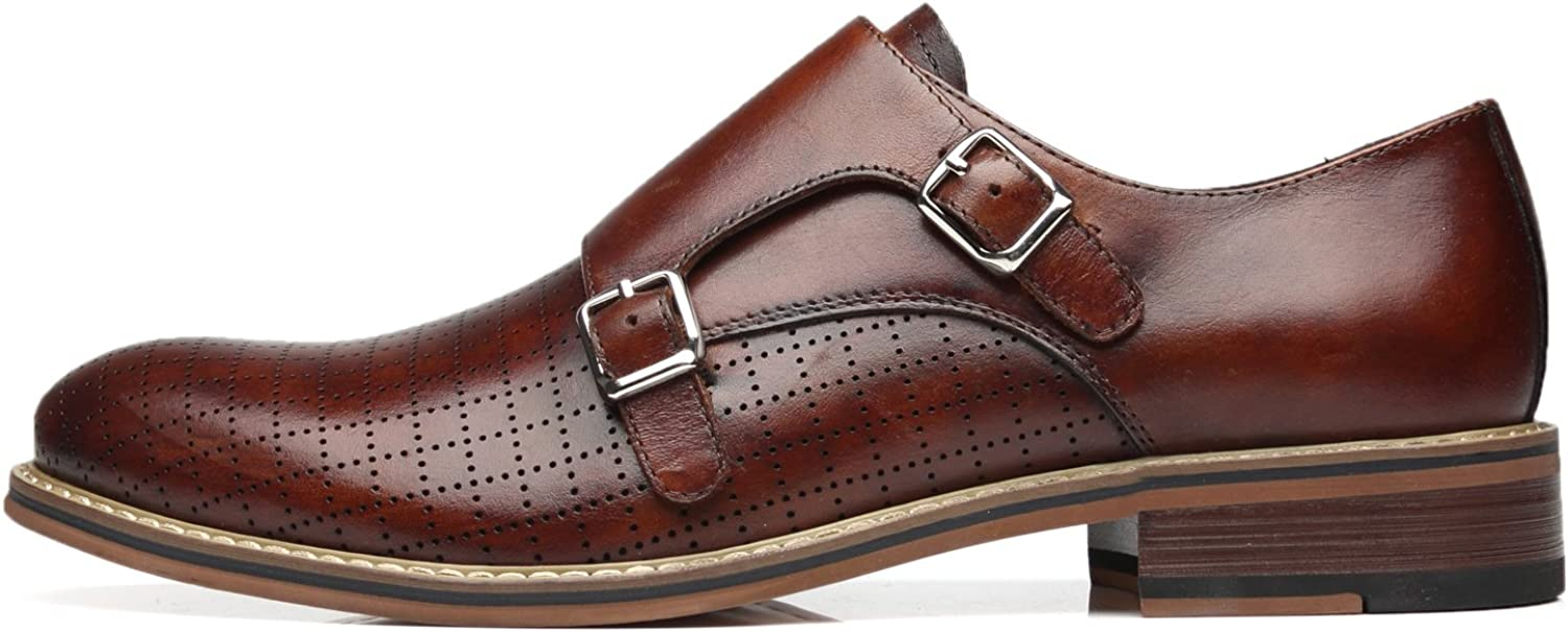 La Milano Mens Double Monk Strap Slip On Loafer Leather Oxford Plain Toe Classic Casual Comfortable Dress Shoes for Men