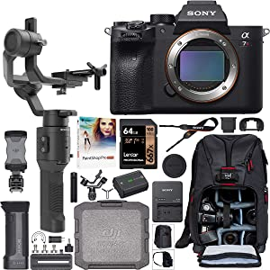 Sony a7R IV Full-Frame Mirrorless Interchangeable Lens Camera Body ILCE-7RM4 61.0MP Filmmaker's Kit with DJI Ronin-SC 3-Axis Handheld Gimbal Stabilizer Bundle + Deco Photo Backpack + 64GB + Software