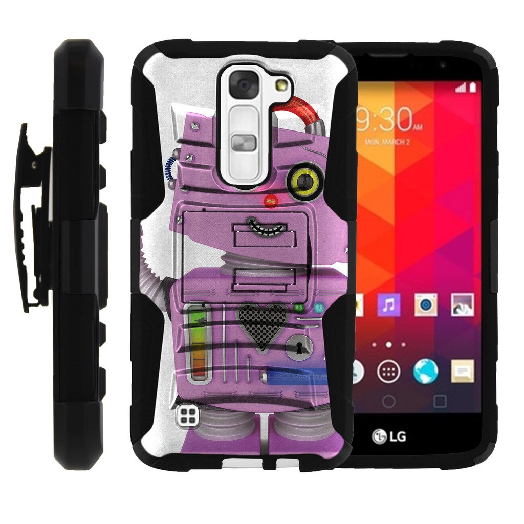 TurtleArmor   Compatible for LG K7 Case   LG Tribute 5 Case   LG Treasure Case [Hyper Shock] Armor Rugged Solid Hybrid Cover Kickstand Impact Silicone Belt Clip Robot Android - Purple Robot