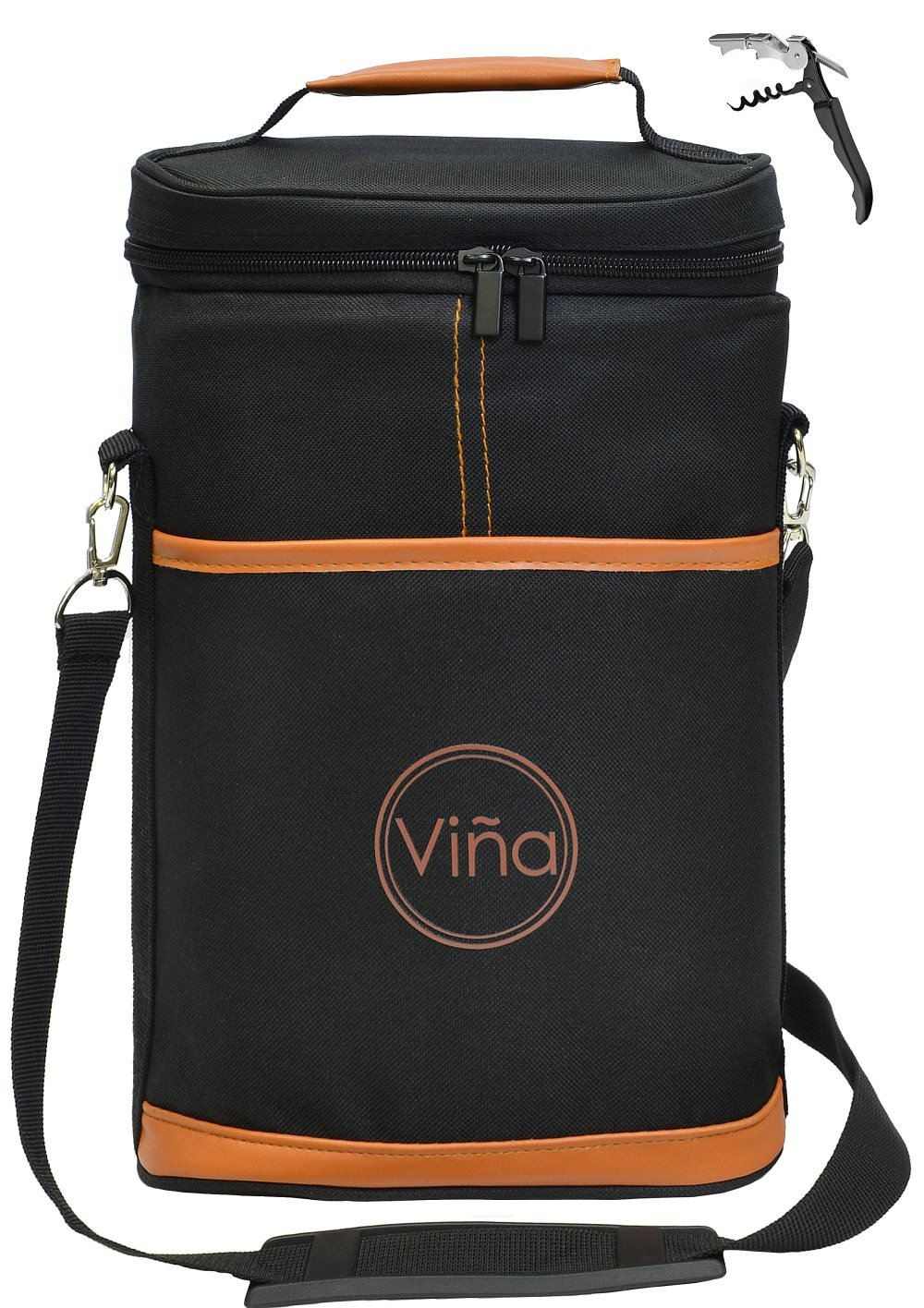 Vina Wine Insulated Tote Bag, 2 Bottle Wine/Beer Cooler Carrier Case with Shoulder Strap + Free Corkscrew for Picnic and Travel, Great Gift for Wine Lover, Brown