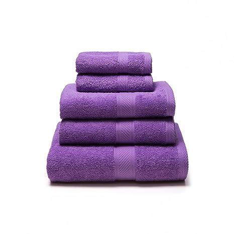 Sancarlos - Juego de 5 toallas YANAI, 100% Algodón, Color Morado