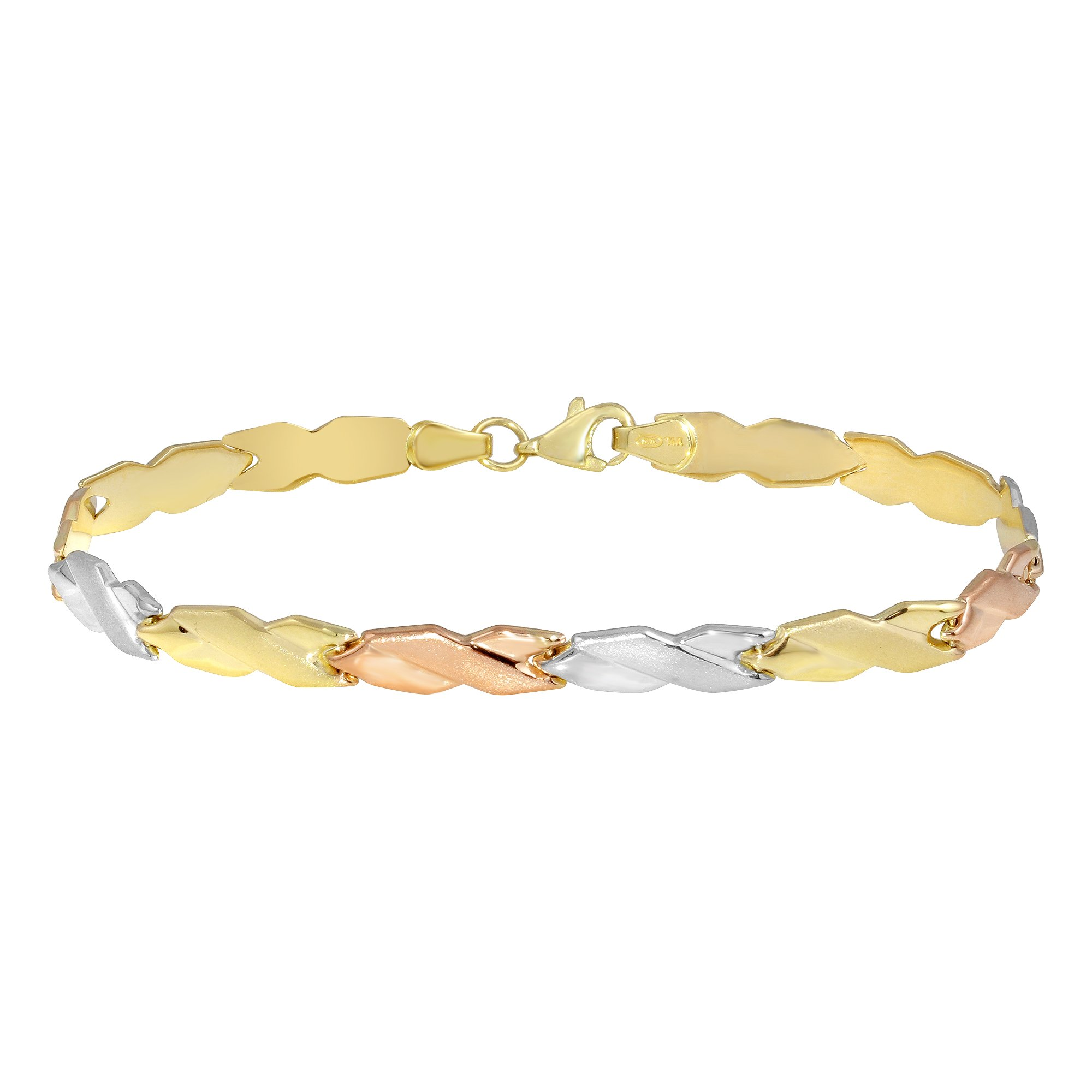 Polished 14k Tri-Color Gold Modern Stampato Xoxo X Love Bracelet