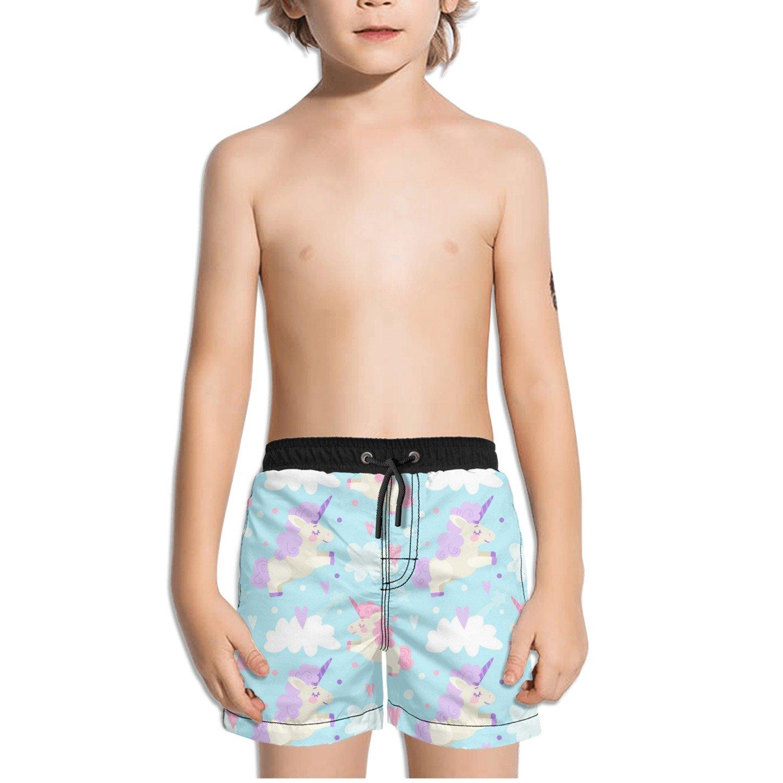 Ouxioaz Boys Swim Trunk Unicorn Flying Cartoon Beach Board Shorts
