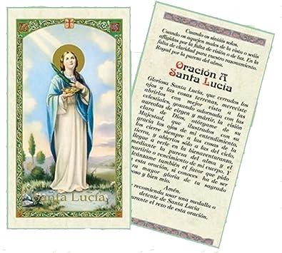 Gifts by Lulee, LLC Oracion a Santa Lucia Tarjeta De Rezo Bendecida Por Su Santidad Francisco