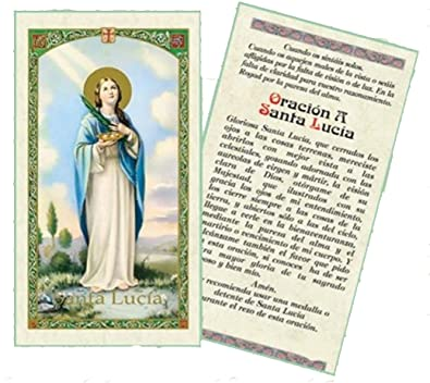 Oracion a Santa Lucia Tarjeta De Rezo Bendecida Por Su Santidad Francisco