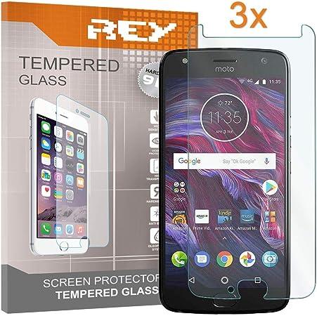 REY 3X Protector de Pantalla para Motorola Moto X4, Cristal Vidrio Templado Premium: Amazon.es: Electrónica