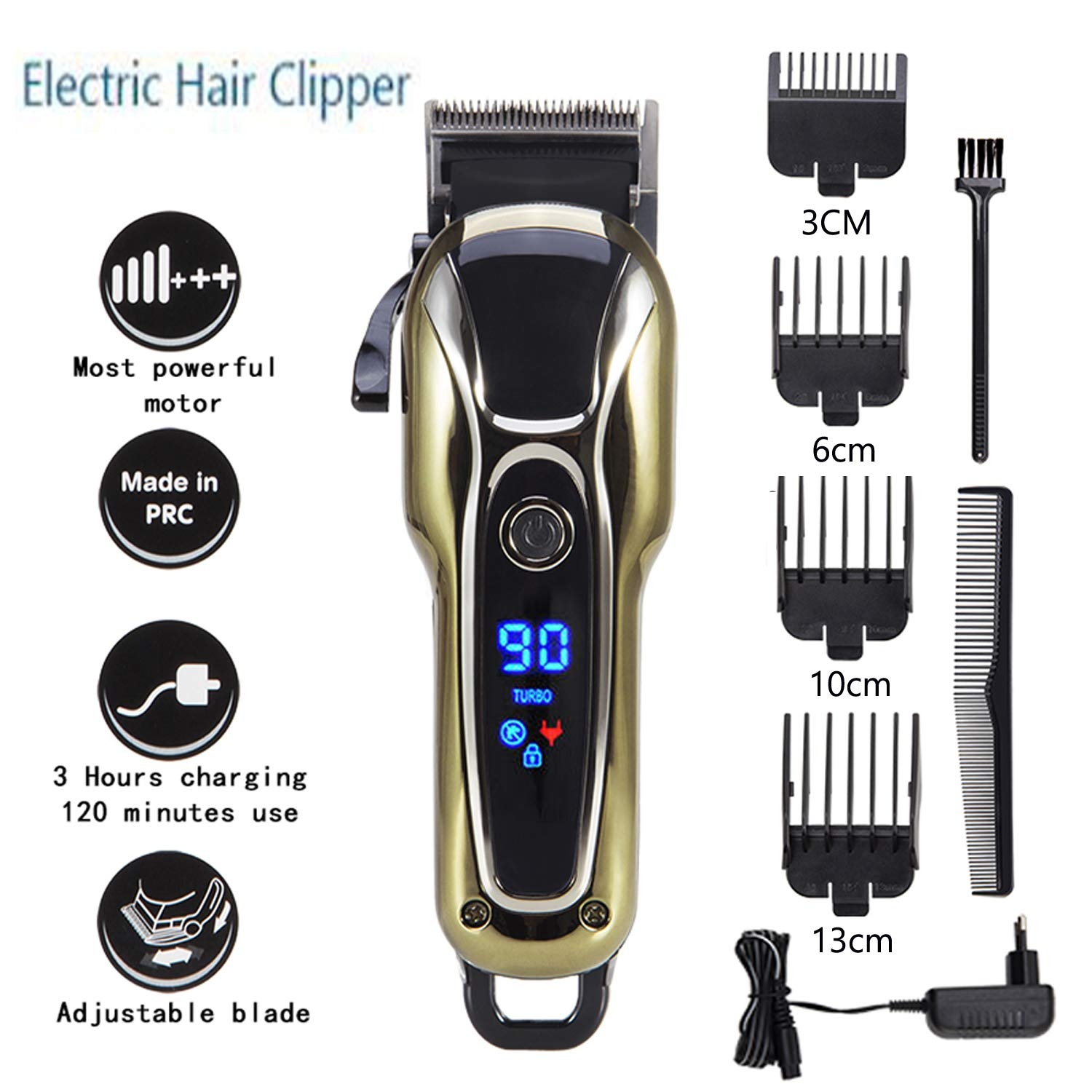 Professional 5-Star Rechargeable Hair Cipper Electric Shaving Machine Razor Barber Cutting Beard Trimmer Haircut Set Cordless Gold