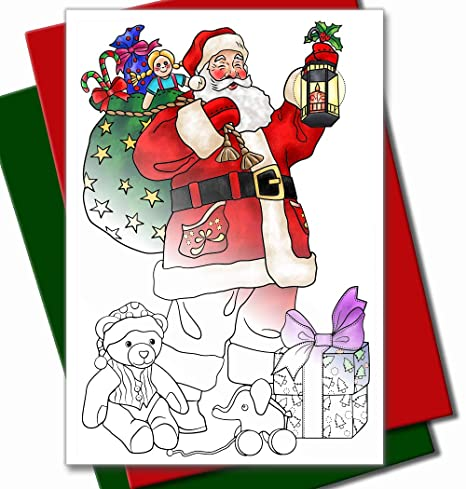 Children Christmas Cards.Art Eclect Coloring Christmas Cards For Adults And Children To Color 10 Cards With 10 Different Unique Designs 5 Red And 5 Green Envelopes Included