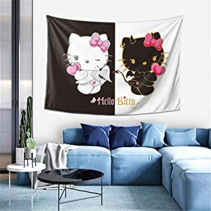 WOMFUI Angel Devil Hello Kitty Hanging Tapestry Black and White Wall Blanket Art Home Decoration for Room(40 x 60 inches)