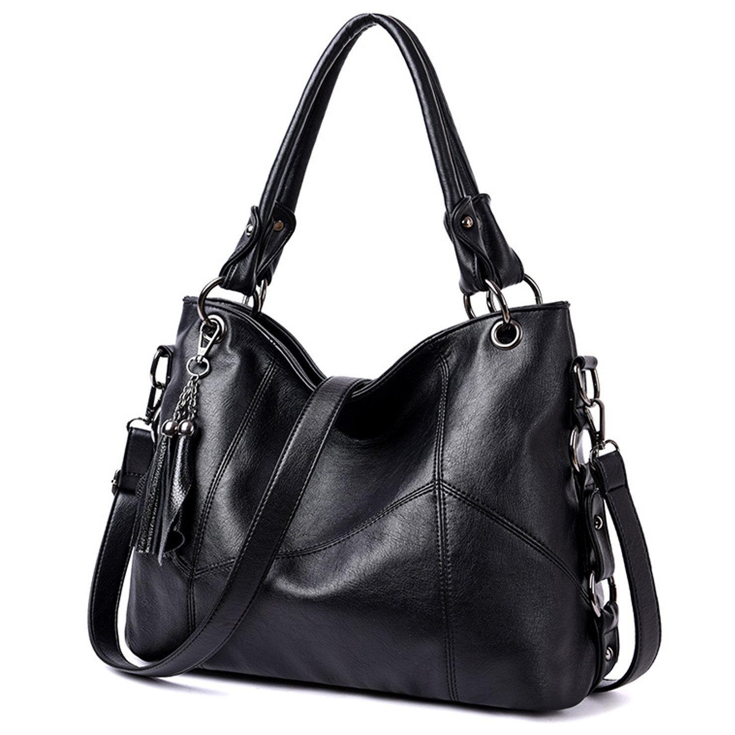 Lustear Soft Leather Handbag Hobo Style Purse Tote Shoulder Bag with Tassel For Women (Black)