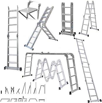 Scaffold - Escalera plegable de aluminio de alta resistencia con 4 ...