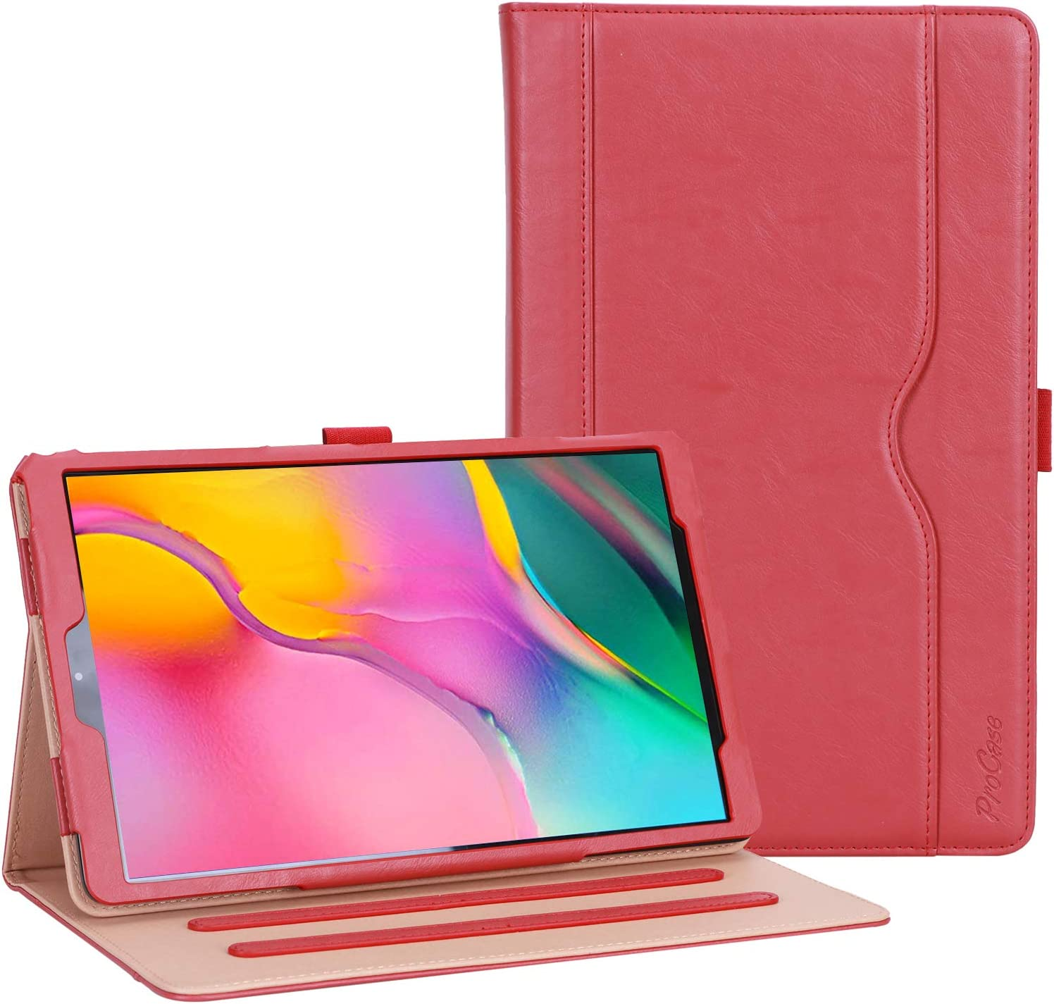 ProCase Galaxy Tab A 10.1 Case 2019 Model T510 T515 T517 - Stand Folio Case Cover for Galaxy Tab A 10.1 Inch 2019 Tablet SM-T510 SM-T515 SM-T517 -Red