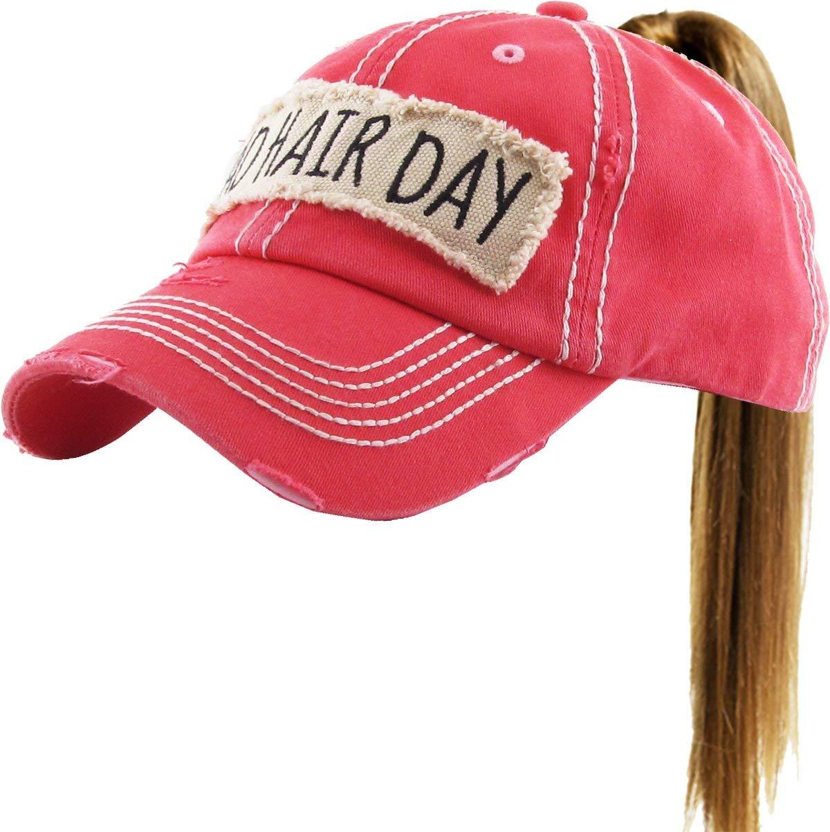 PONY-100 HPK Bad Hair Day Ponytail Messy High Bun Adjustable Cotton Baseball Cap
