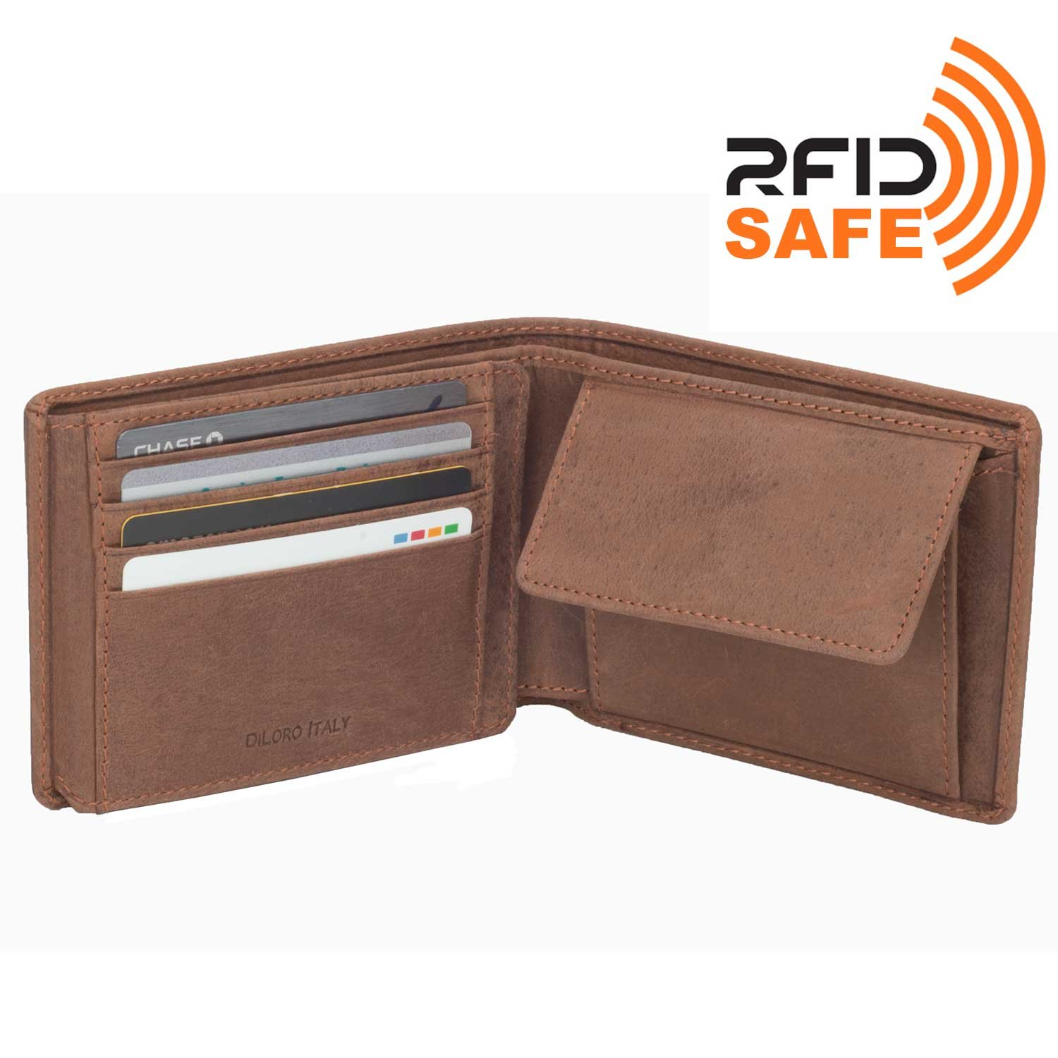 DiLoro Wallets for Men Bifold Flip ID Section Coin Compartment RFID Protection Full Grain Top Quality Vegetable Tanned Leather (Light Hunter Brown) by DiLoro (Image #3)