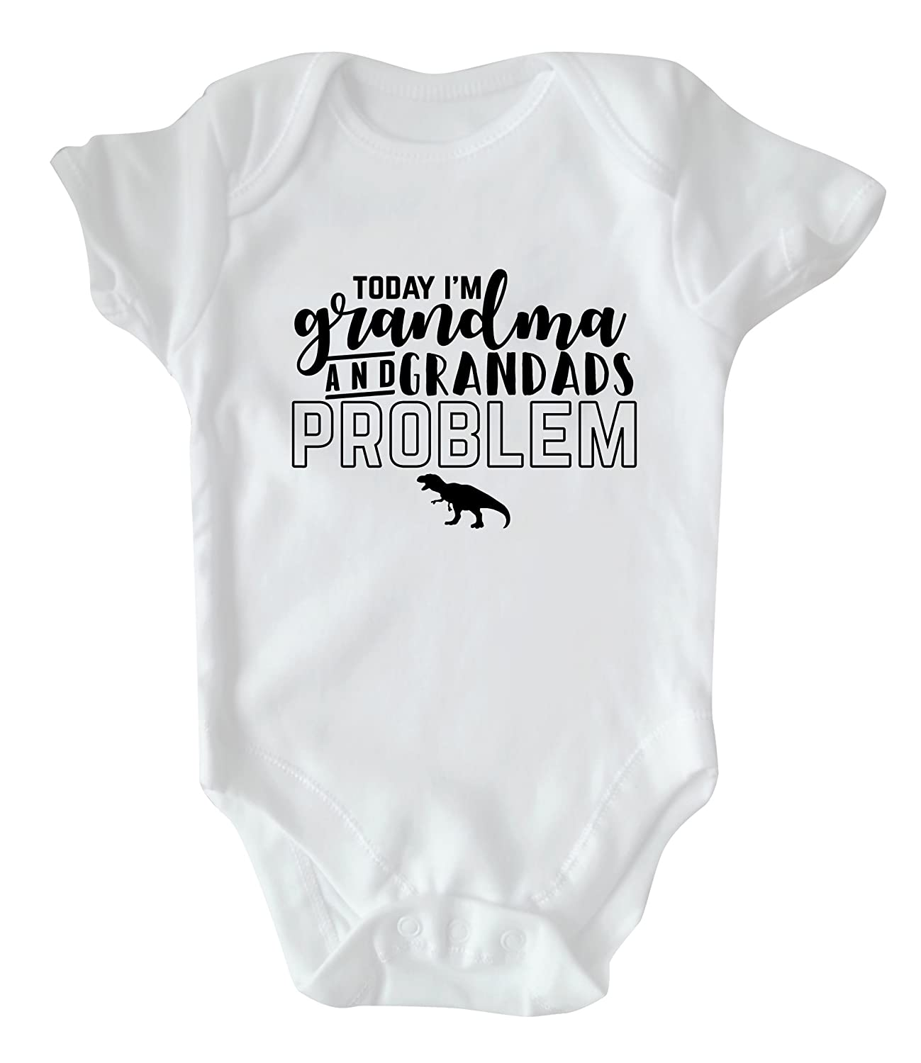 Rock Paper Sisters White Slogan Baby Vest: Today I'm Grandma and Grandads Problem