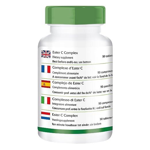 Ester C complejo - paquete grande para 3 meses - VEGAN - Buffered vitamina C con bioflavonoides - 90 comprimidos - fácil en el estómago: Amazon.es: Salud y ...