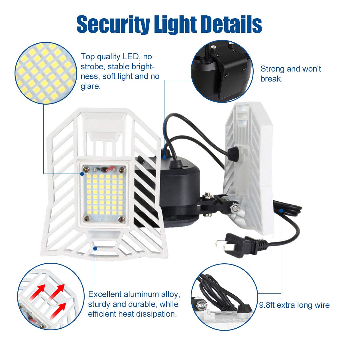 Yard Stairs 4000LM 6000K Daylight Security LED Flood Light Bulbs 40W Plug in Security Lights IP65 Waterproof Backyard Security Lights with 2 Adjustable Heads for Entryways Outdoor Security Lights