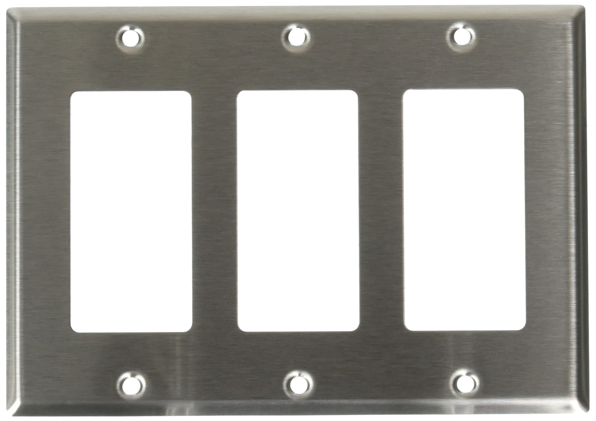 Leviton 84411-40 3-Gang Decora/GFCI Device Decora Wallplate, Device Mount, Stainless Steel, 10-Pack