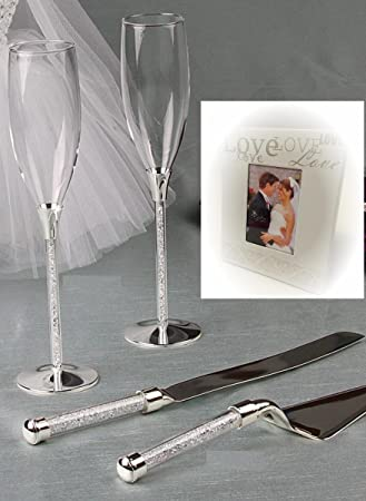 Wedding Toasting Flutes And Cake Knife Server Set Crystal Stones Filled Stemmed With Love Mini Favor