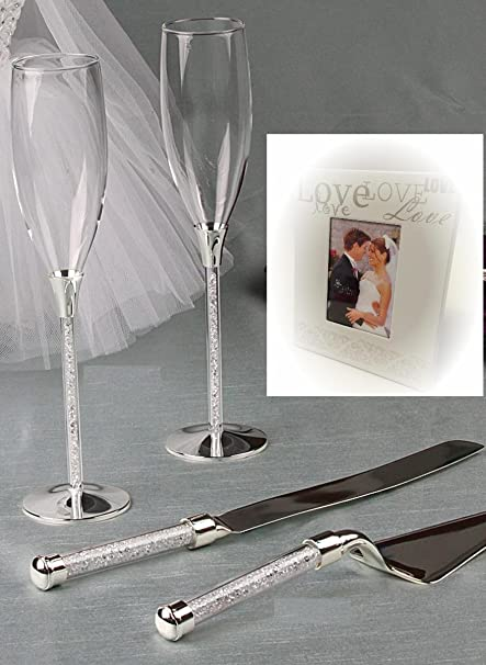 10bc019b9dc Image Unavailable. Image not available for. Color  Wedding Toasting Flutes  and Cake Knife Server Set Crystal ...
