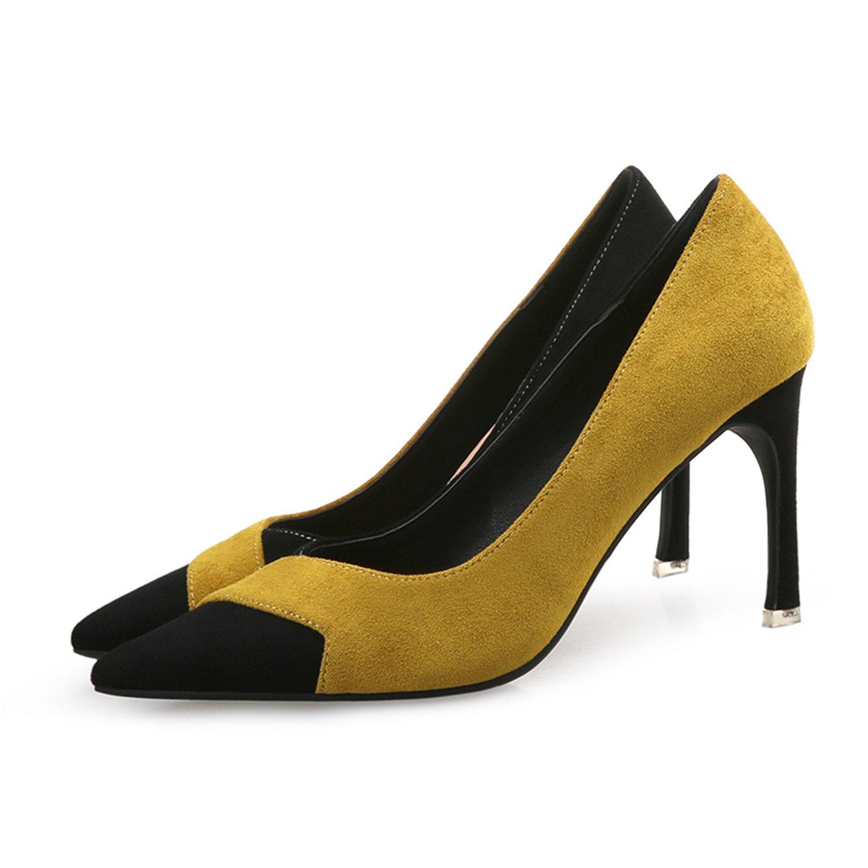 Chopstick Women Pumps High Heels Elegant Pointed Toe Thin Female Heels Wedding Shoes Female Thin Party Shoes45 B07CXGVZYD 7.5 B(M) US|Yellow fa2584