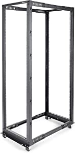 "StarTech.com 42U Open Frame Server Rack - 4 Post Adjustable Depth (22"" to 40"") Network Equipment Rack w/ Casters/Levelers/Cable Management (4POSTRACK42),Black"