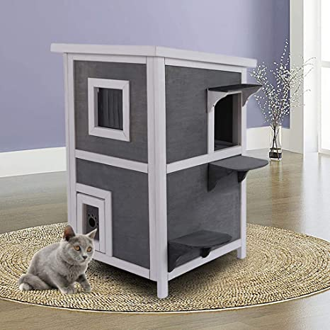 Indoor Outdoor Cat House Weatherproof Wooden Outdoor Indoor Two Floors Pet Home Furniture Cat Shelter Small Pet Condo With Stairs For Small Middle Cats Kitty Homes Shipped From Us Kitchen