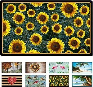 """Welcome Door Mat for Entry Home Patio Garden - Decorative Fall Doormat Rubber Floor Mat Durable Autumn Entrance Rug Indoor Outdoor 29"""" x 17"""" (Sunflower)"""