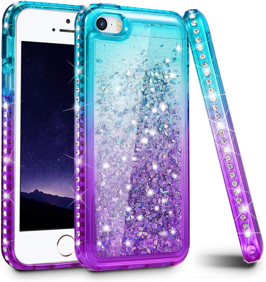 Ruky iPhone 5 5S Case, iPhone SE Case (2016), Gradient Quicksand Series Glitter Flowing Liquid Floating Sparkly Bling Diamond Soft TPU Girls Women Cute Case for iPhone 5 5S SE (Aqua Purple)