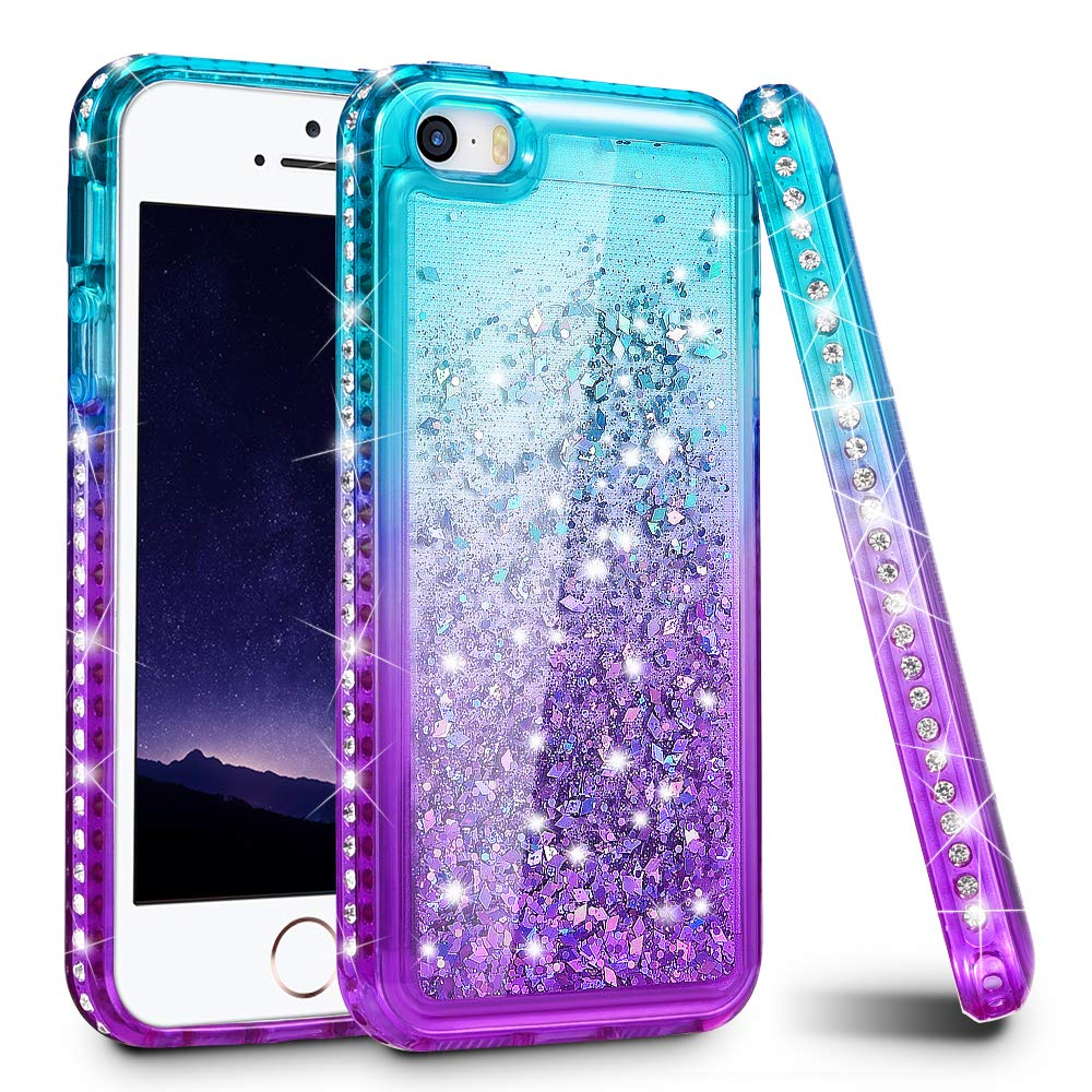 Ruky iPhone 5 5S Case, iPhone SE Case, Gradient Quicksand Series Glitter Flowing Liquid Floating Sparkly Bling Diamond Soft TPU Girls Women Cute Case for iPhone 5 5S SE (Aqua Purple)